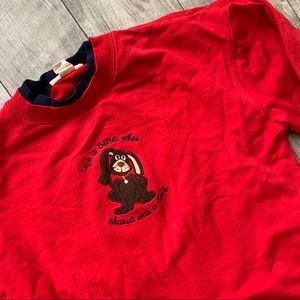 Vintage red layered stitched dog graphic crewneck